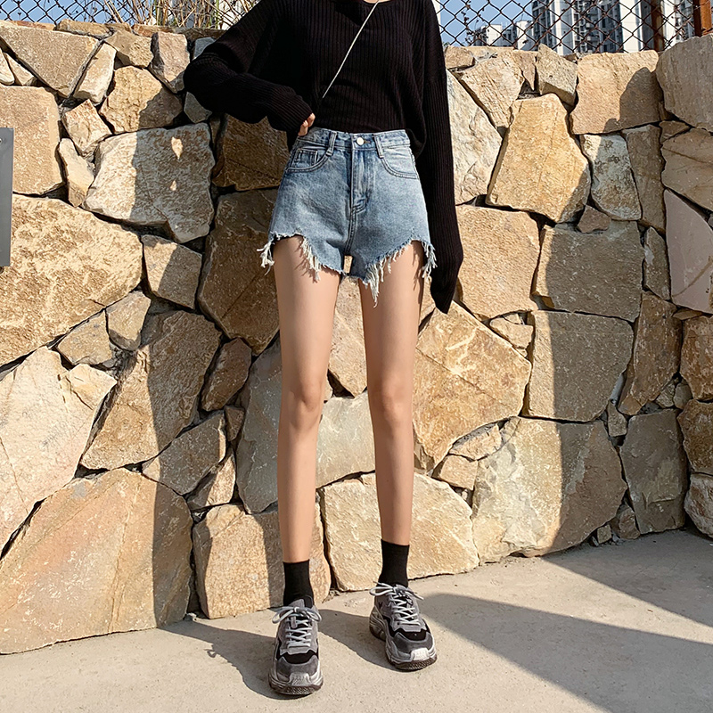 Denim shorts women's 2020 spring new Korean chic loose show thin wide leg high waist A-line elegant same hot pants