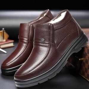 老人保暖鞋防滑女鞋奶奶鞋男士居家手工鞋子皮面户外拖鞋男鞋冬天