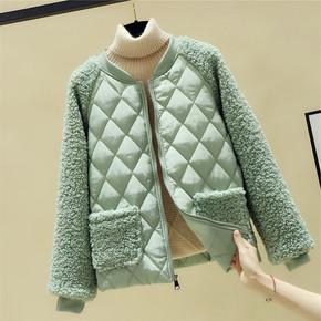 羊羔毛棉服女大码短款2020年新款冬季加厚外套减龄小个子棉袄棉衣