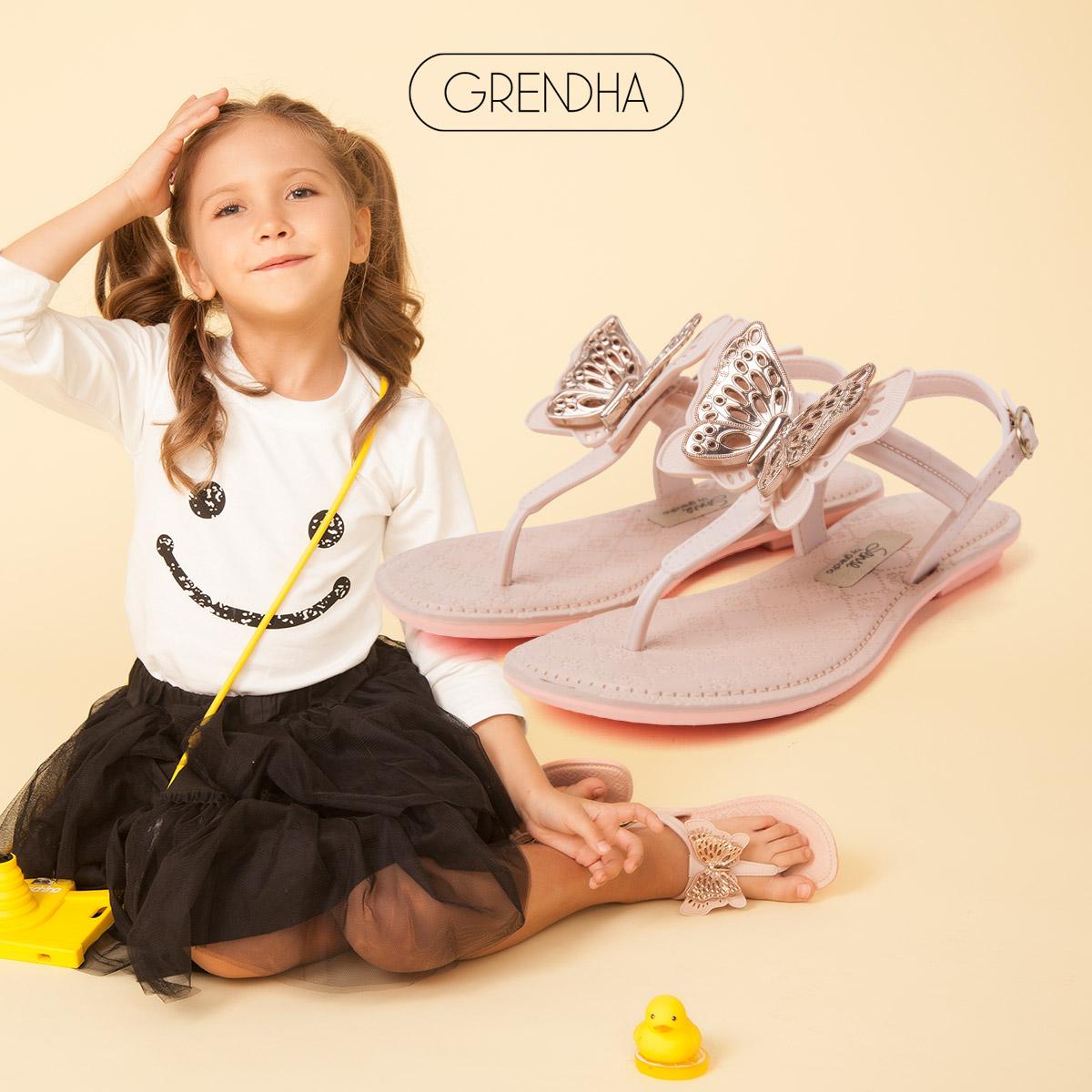 【特价】grendha进口女童凉鞋感官系列凉鞋IV儿童夹趾亲子沙滩鞋