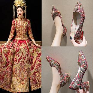婚鞋女粗跟2019新款之中式結婚鞋孕婦秀禾服高跟鞋大紅色結新娘鞋