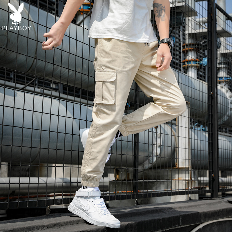 Playboy corset overalls mens fashion label loose pants casual Long Pants Boys Capris Korean Trend