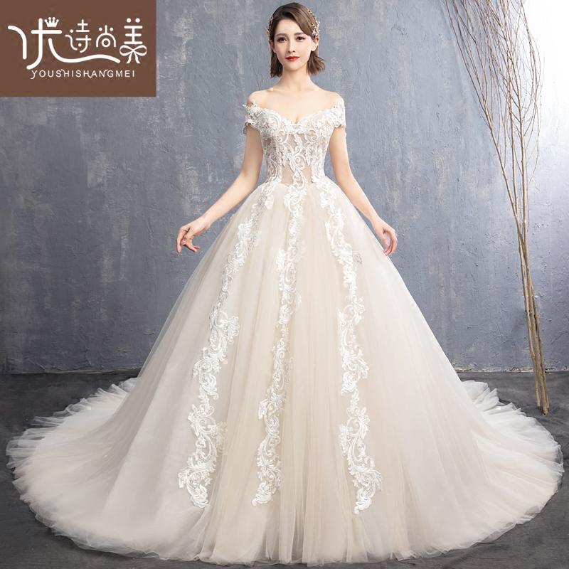 婚纱2019新款新娘显瘦简约法式小个子女拖尾奢华超仙简约森系礼服,可领取20元天猫优惠券