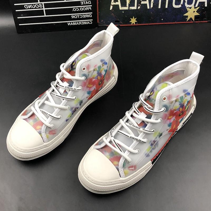 网面透气休闲鞋时尚印花板鞋韩版潮流帆布鞋夏季高帮