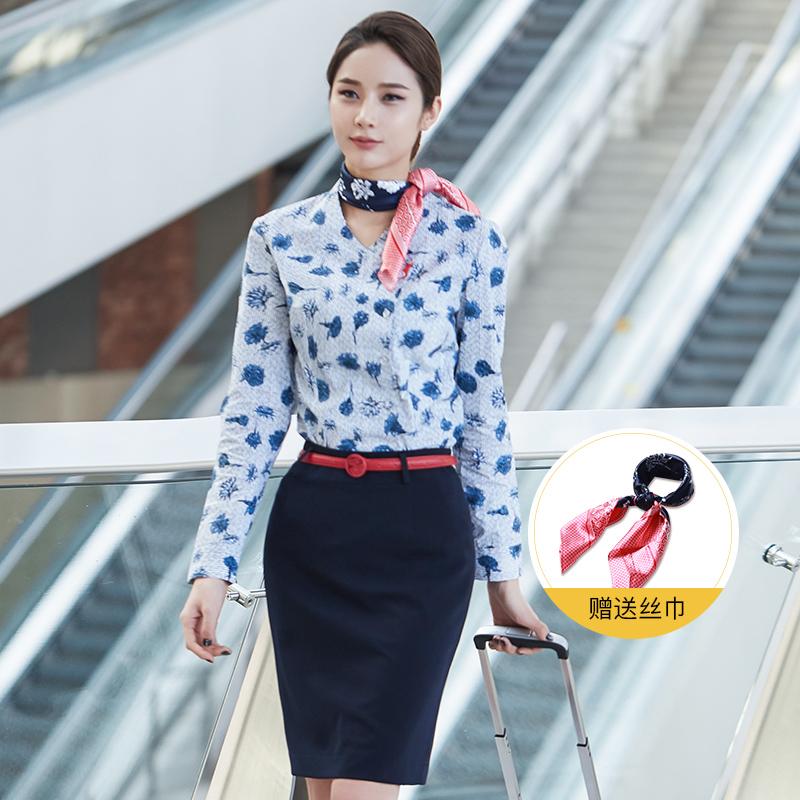 东航空姐制服职业套装夏季气质女神范南航工装套裙酒店前台工作服