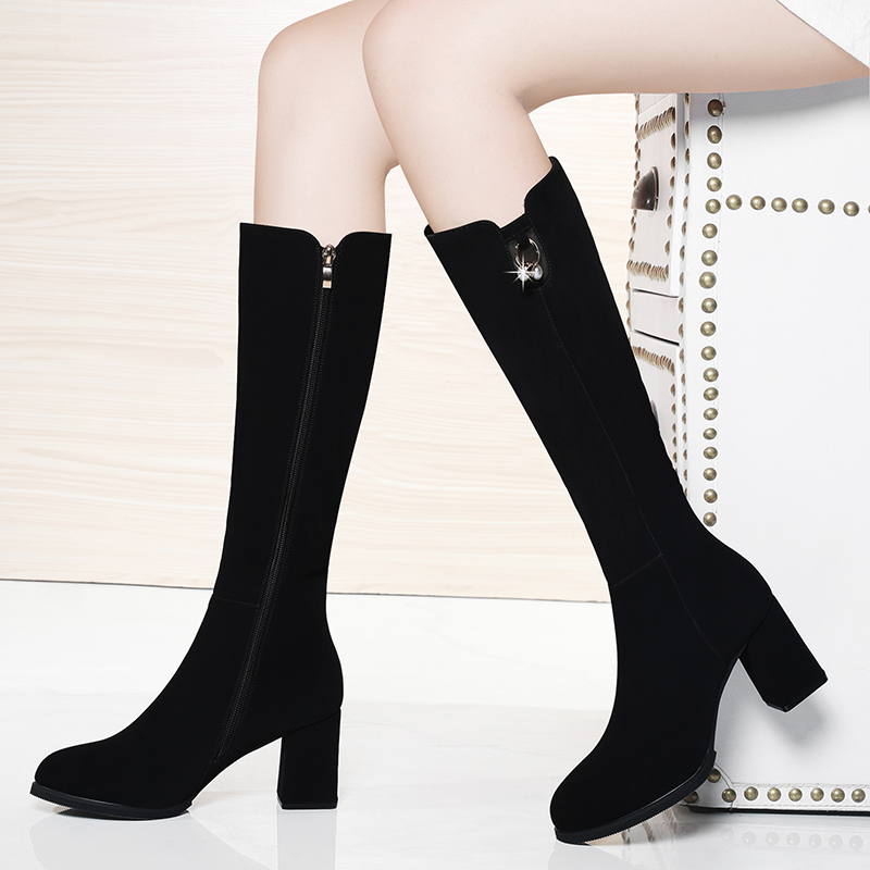 Autumn and winter 2020 new plush knee length boots thick heel high tube boots high heel medium length boots middle heel womens shoes