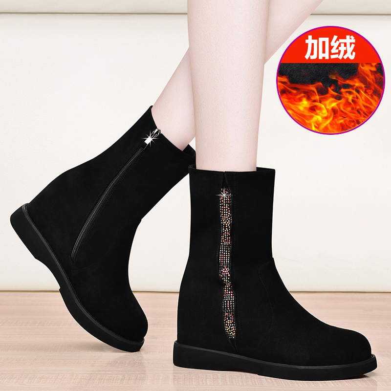 Womens boots autumn and winter 2019 new frosted short boots flat bottom inside high middle tube boots womens Plush womens shoes