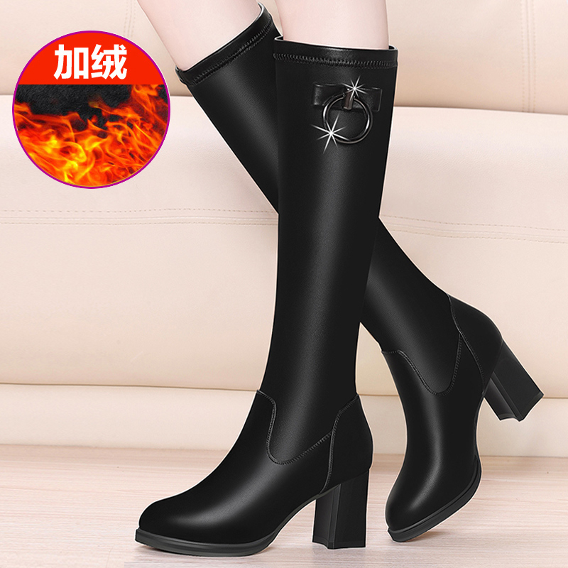 Autumn and winter 2020 new Knights boots womens boots leather boots thick heel middle tube Plush high heel boots not over knee boots