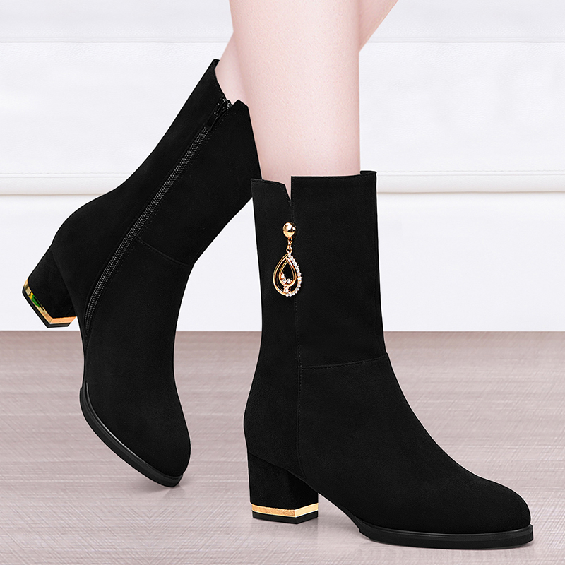 Boots childrens middle tube boots middle heel new frosted versatile high heeled shoes womens shoes short boots Plush