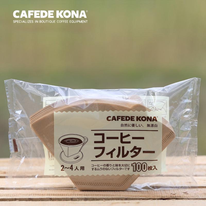 日本进口CAFEDE KONA扇形滤纸家用美式咖啡机手冲滤杯用100枚入满25.00元可用1元优惠券