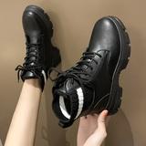 网红马丁靴女英伦风2019年新款女鞋子百搭加绒黑色小短靴冬季棉鞋
