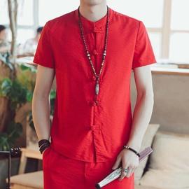 夏季男士棉麻短袖衬衫中式盘扣唐装古风青年修身汉服亚麻中山装