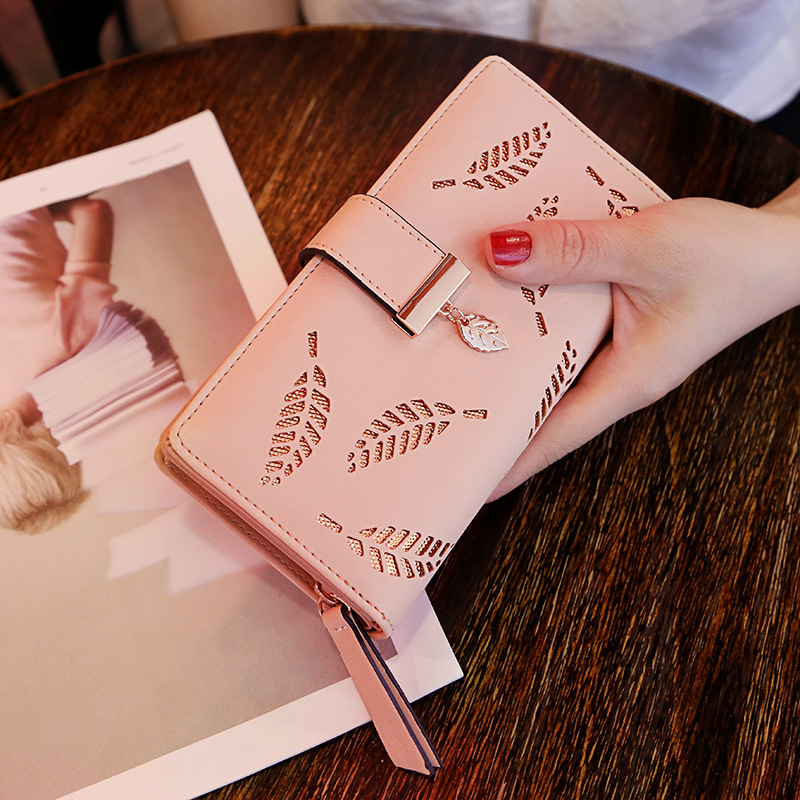 2020 womens net red long fashion hand hold hollow leaf zipper buckle card wallet national package