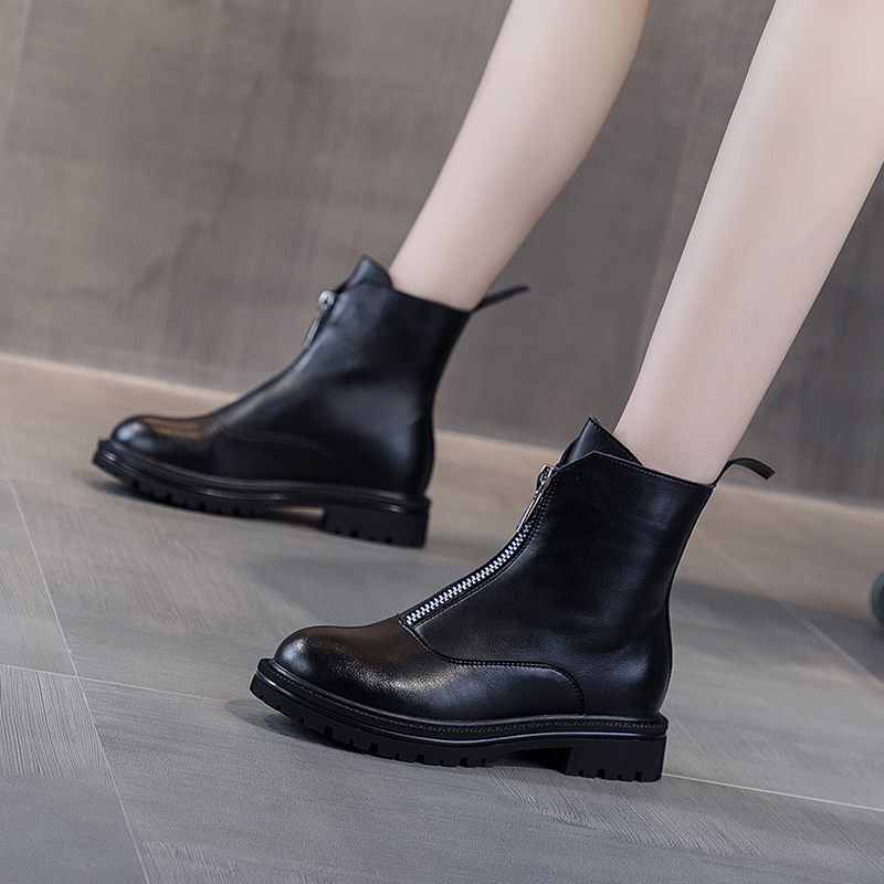 Guidi front zipper short boots womens leather Martin boots British wind increased white thin boots autumn and winter Plush
