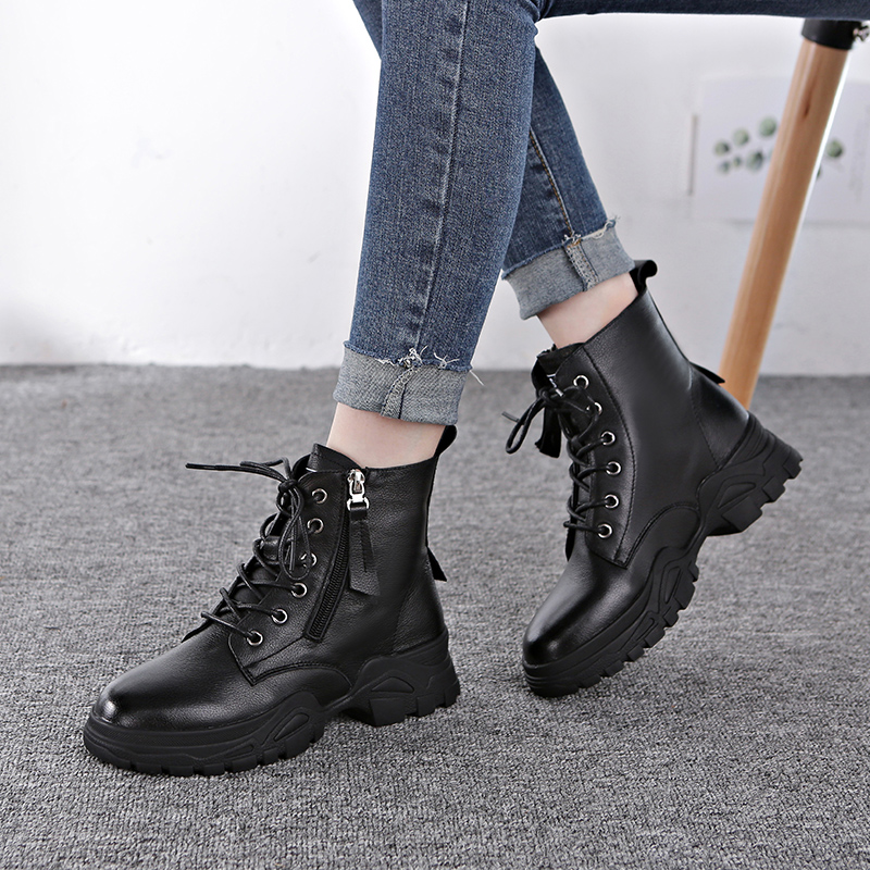 Comfortable autumn and winter 2020 new thick bottom thick heel lace up Martin boots womens net red British wind side zipper Knight boots women