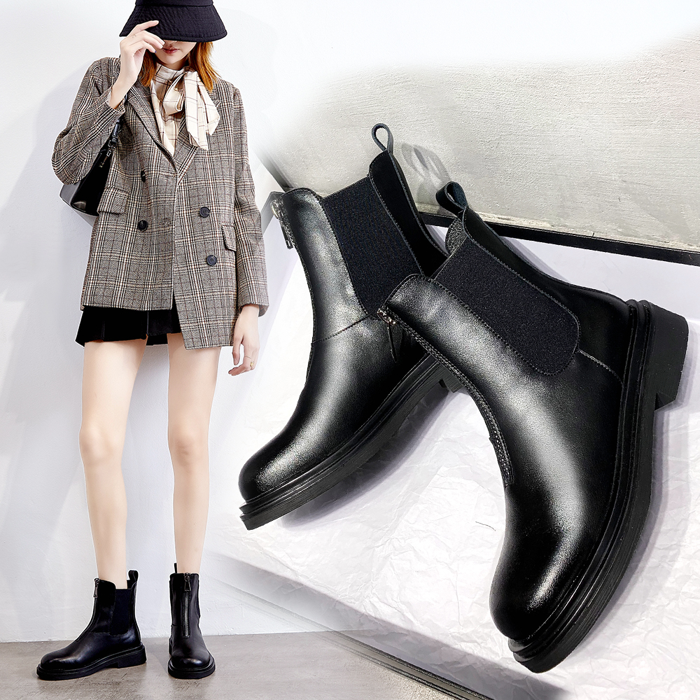 British style versatile and comfortable Chelsea short boots leather Martin boots children autumn womens boots front zipper chimney boots womens Boots