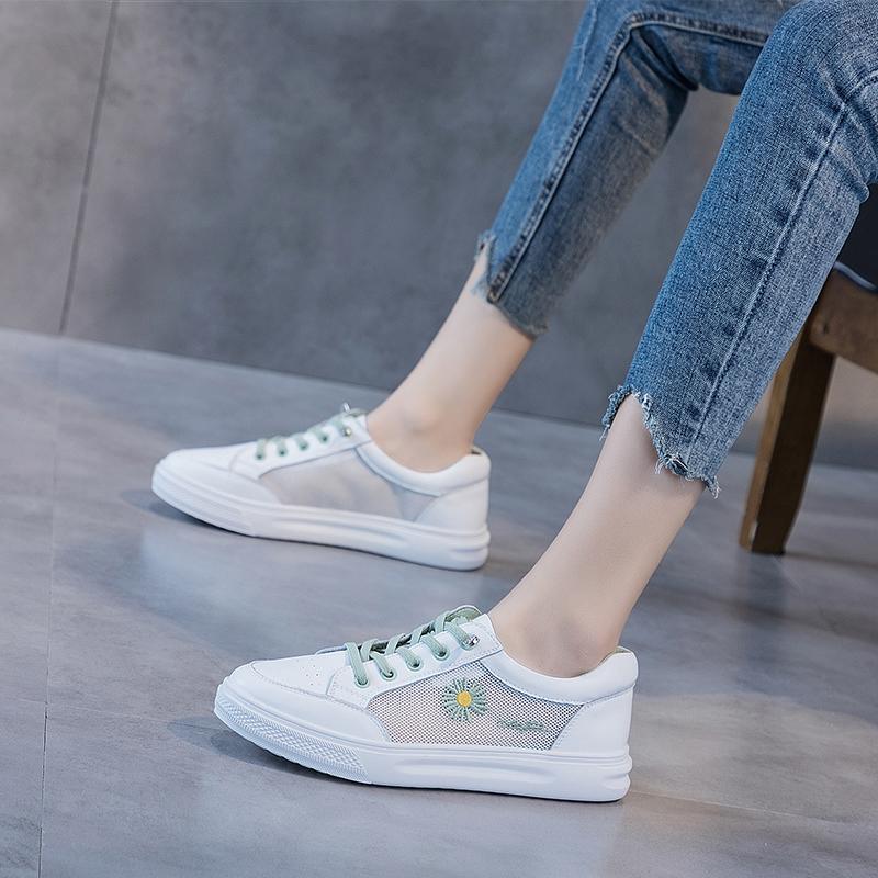 小白鞋女2020春季新款ins百搭网红夏季网面透气休闲平底运动鞋子