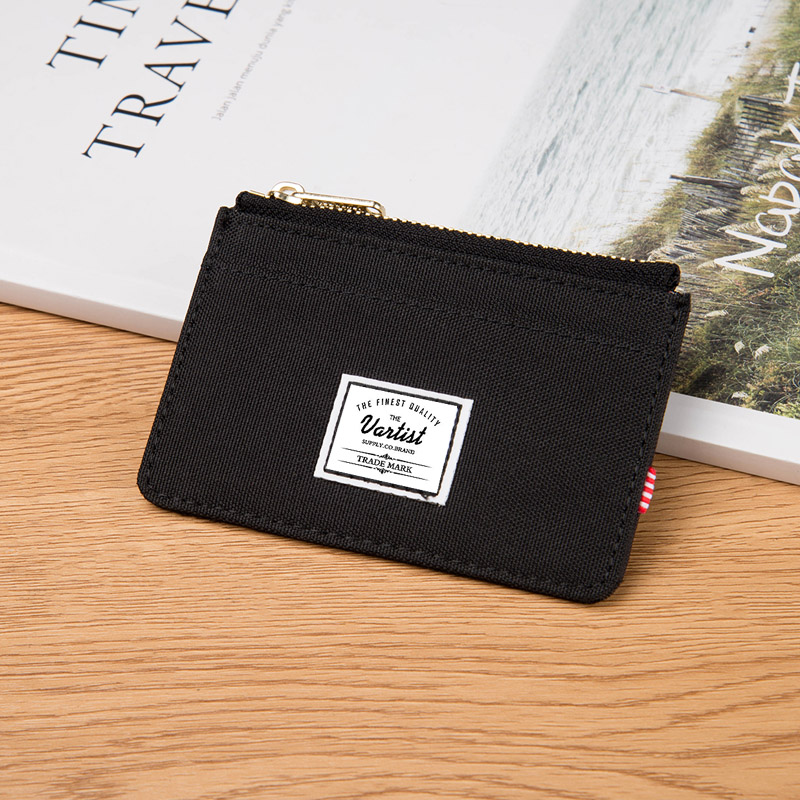 Canvas zipper card bag mens certificate bag zipper ultra-thin small zero wallet integrated mens and womens fashion card cover
