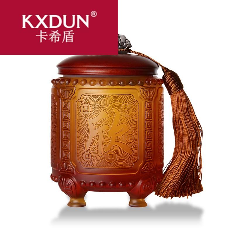KXDUN纪念品定制中国特色礼品送外国人实用琉璃茶叶罐摆件gs0728
