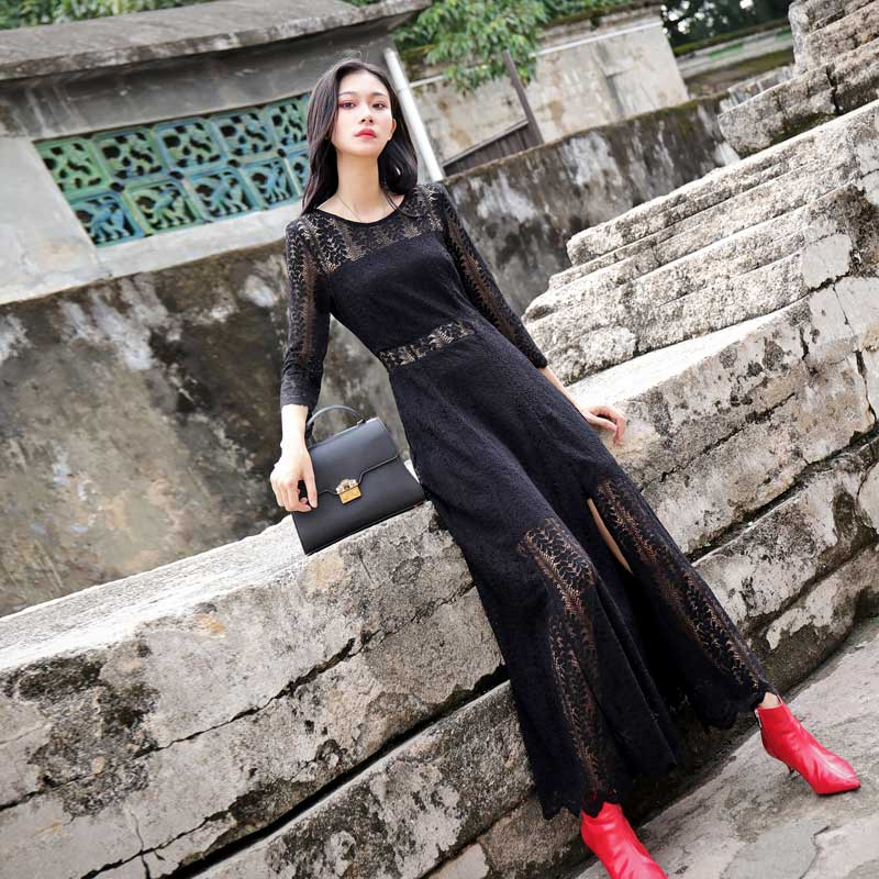 2019 new Korean round neck fairy long skirt shows thin split lace splicing spring and autumn black dress long fashion