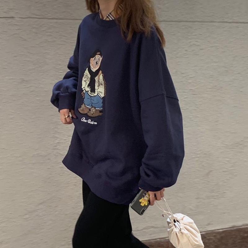 小熊卫衣女潮ins无帽薄款套装2020年春季短款宽松韩版情侣装闺蜜