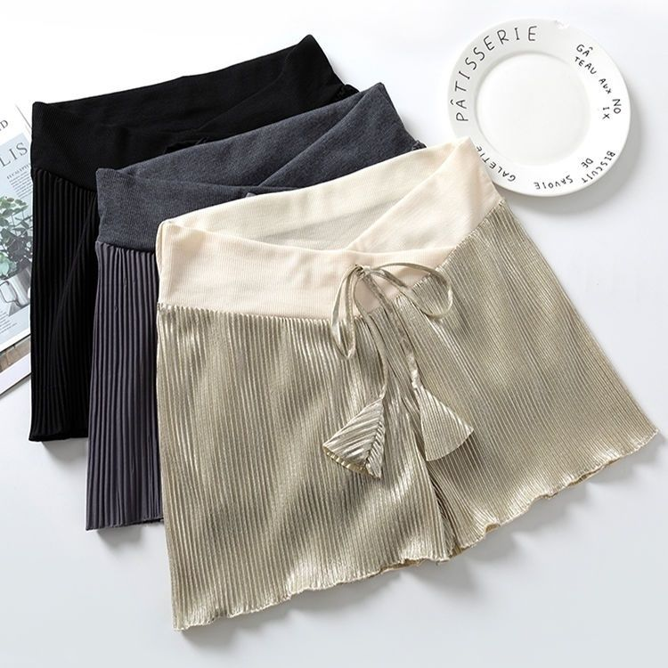 Pregnant womens shorts wear low waisted Leggings in summer, loose and large-sized out pleated household pants, pregnant sleepwear in summer