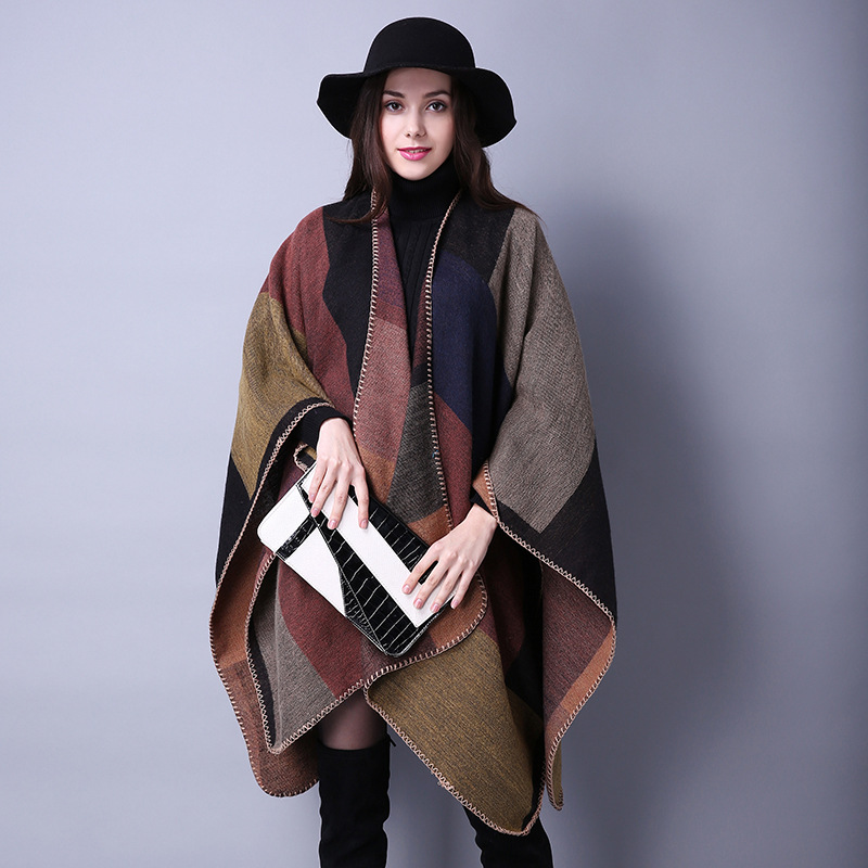 Spring and autumn scarf versatile lattice womens travel shawl imitation cashmere European and American foreign trade national style fork and womens Cloak