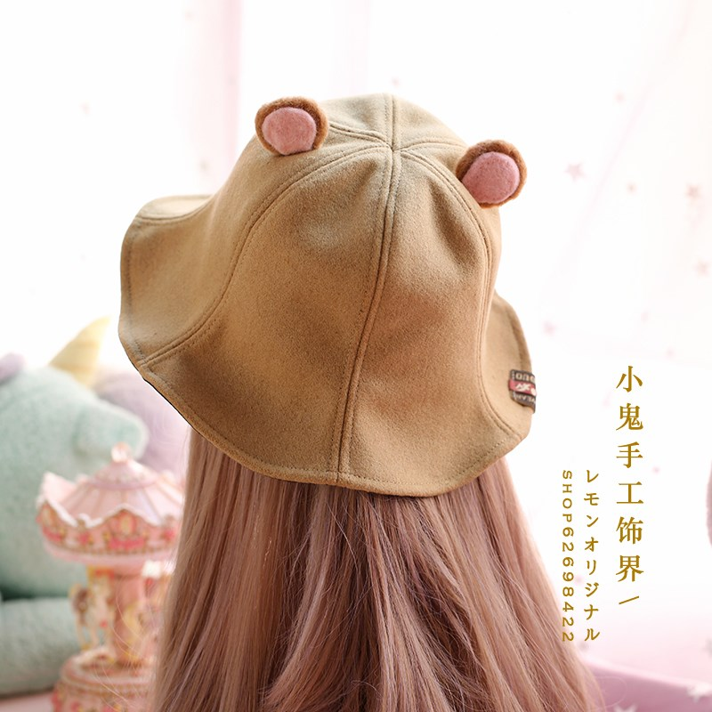 Super cute soft cute girl hand made wool felt bear ear wool Fishman hat spring autumn winter warm basin hat children