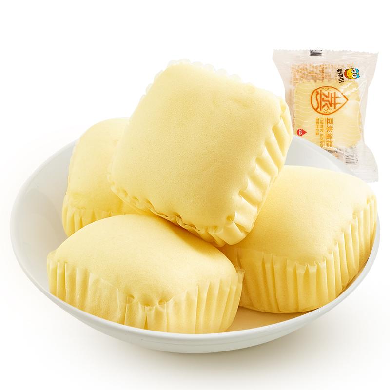 来伊份蒸豆浆蛋糕500g休闲零食糕...