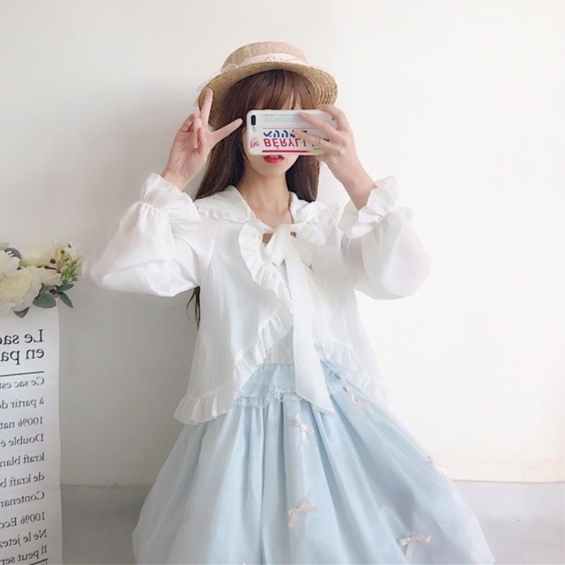Lolita Lolita with chiffon cardigan super short cape coat thin sun proof shirt fairy top summer