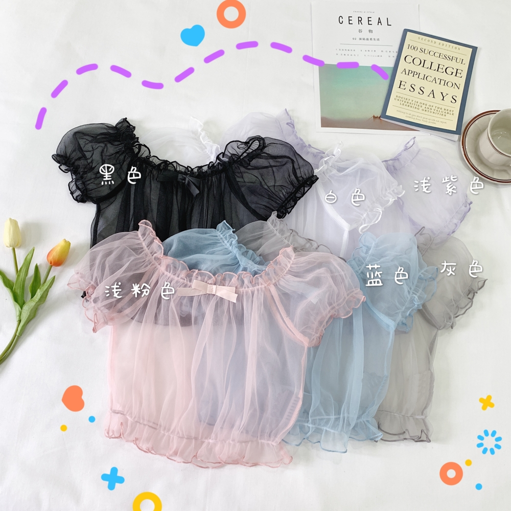 Lolita Japanese lining Lolita with off shoulder bubble sleeve Lace Chiffon Shirt Short Sleeve Top for women in summer