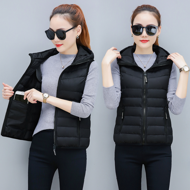 Spring and autumn new super thin down cotton vest womens short large womens warm sleeveless waistcoat