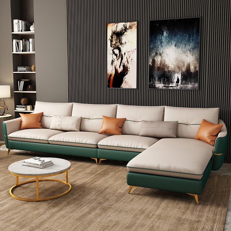 轻奢风后现代皮沙发简约客厅小户型转角贵妃组合北欧真皮网红沙发