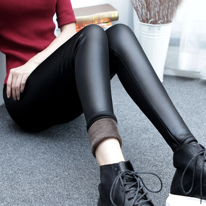 Autumn and winter clothes in 2019 mothers warm pants womens Plush high waisted leather pants