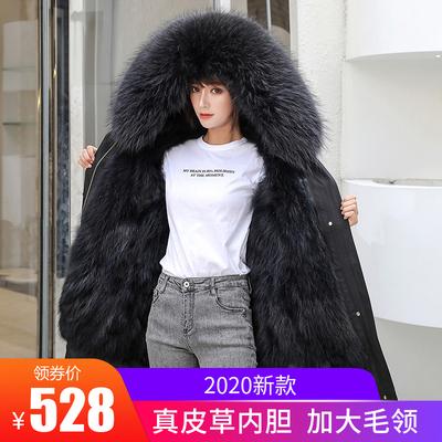 反季皮草派克服女外套中长款貉子狐狸毛内胆2020冬季新款过膝大衣