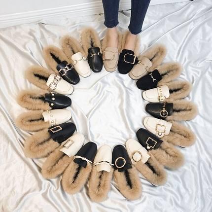 外穿豆豆鞋女秋冬季2018新款韩版平底加绒保暖棉瓢鞋毛毛单鞋女潮