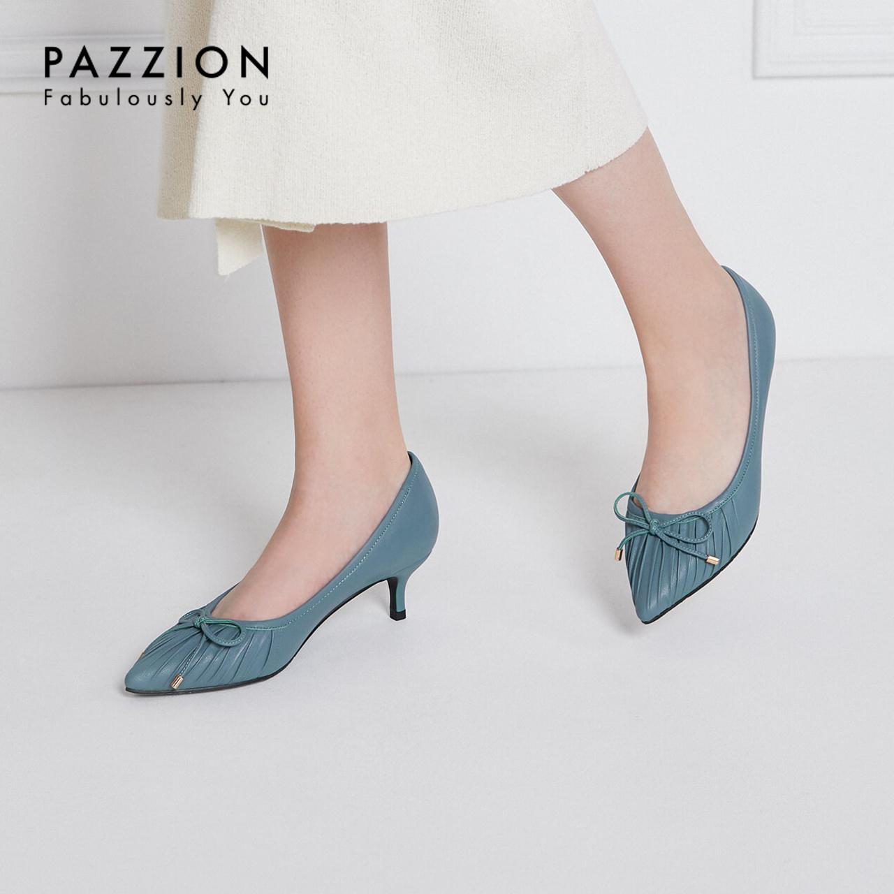 PAZZION2019夏新款浅口尖头蝴蝶结小猫跟鞋 甜美少女柔软羊皮单鞋