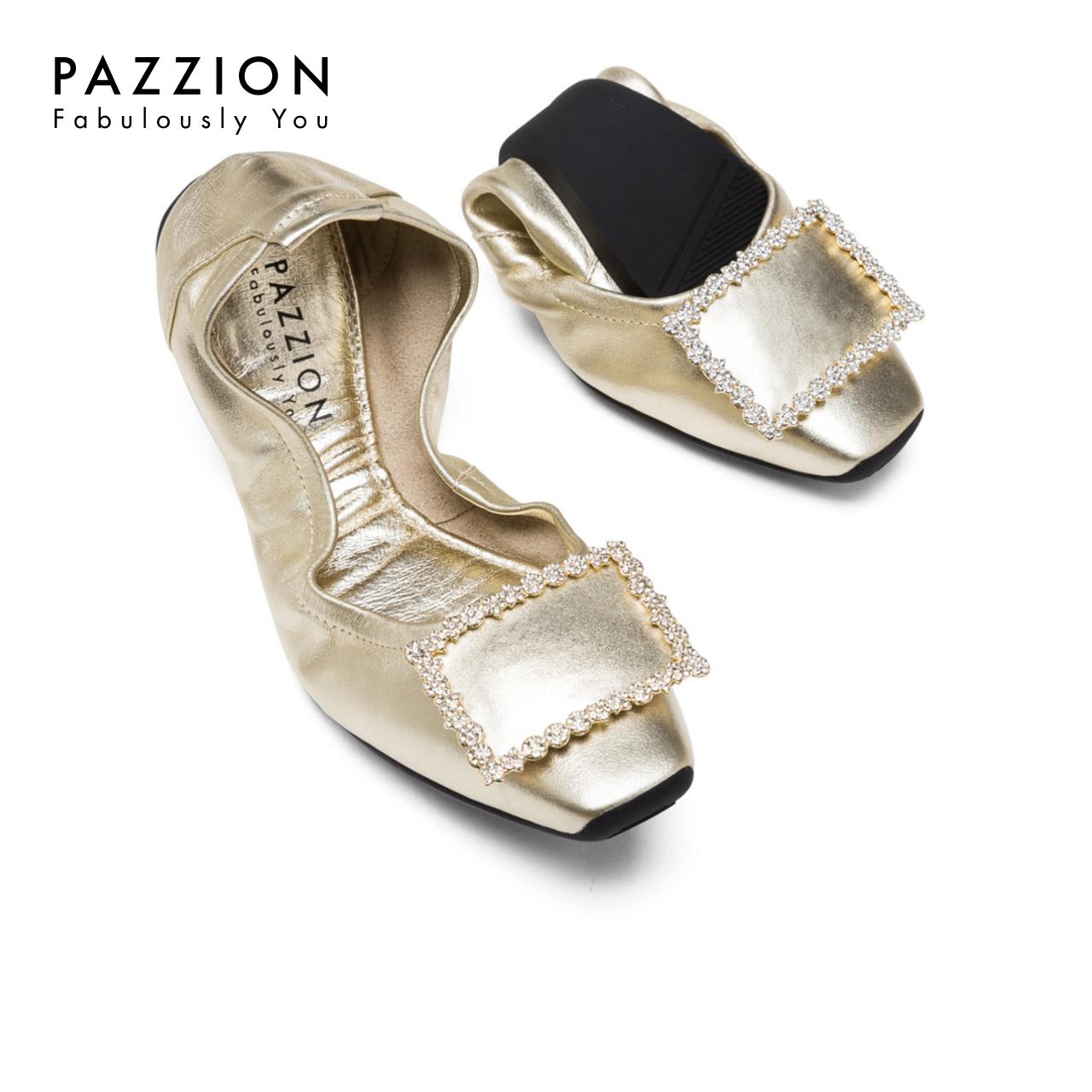 PAZZION优雅钻饰方扣方头平底鞋折叠女鞋 休闲舒适软底牛皮单鞋女