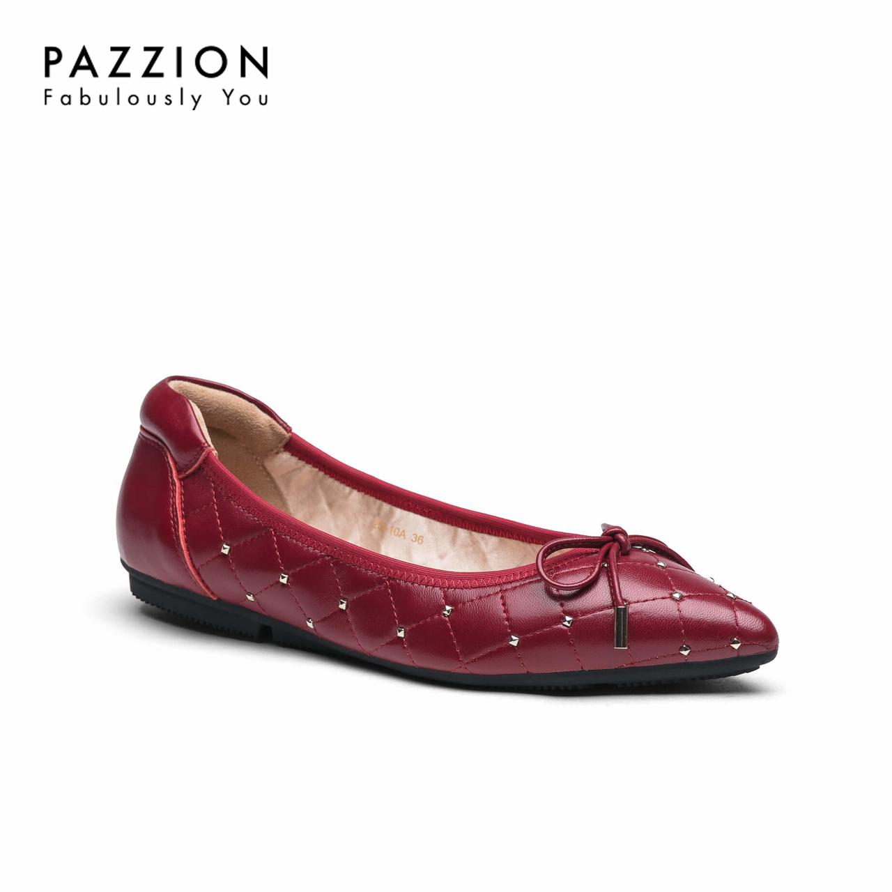 PAZZION夏季舒适羊皮软底温柔鞋平底鞋女 甜美蝴蝶结格纹浅口单鞋