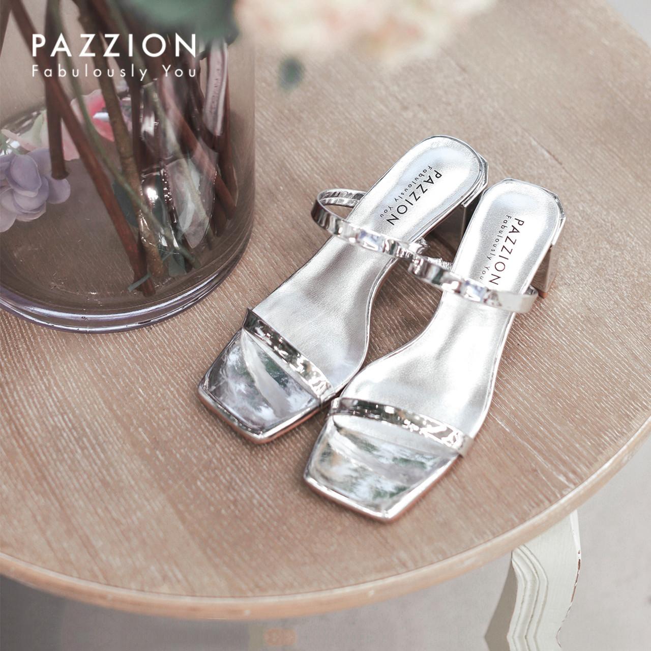 PAZZION时尚气质一字带高跟鞋 舒适粗跟方头凉鞋女2019夏季新款