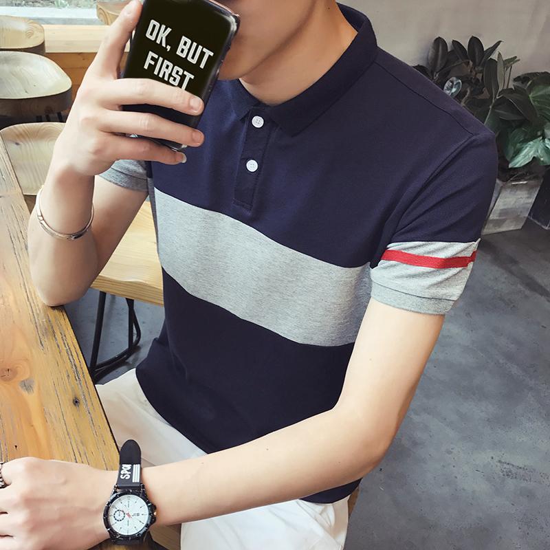 夏季短袖t恤男宽松半袖POLO衫青少年韩版体恤上衣打底衫男装潮流
