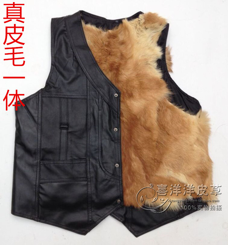 Wool vest, mens middle-aged and old peoples fur, one body leather, wool vest, thickened cotton shoulder, old peoples autumn and winter fathers clothing