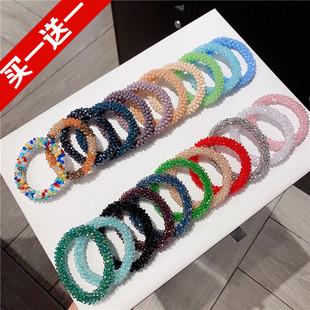 韓國熱賣亮片水晶彩色彈力皮筋髮圈馬尾簡約氣質精美頭繩手鍊兩用