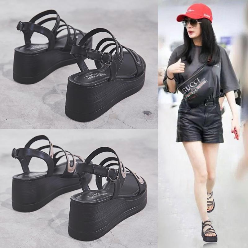 厚底凉鞋女2021夏季新款坡跟高跟韩版罗马平底松糕一字扣女鞋子