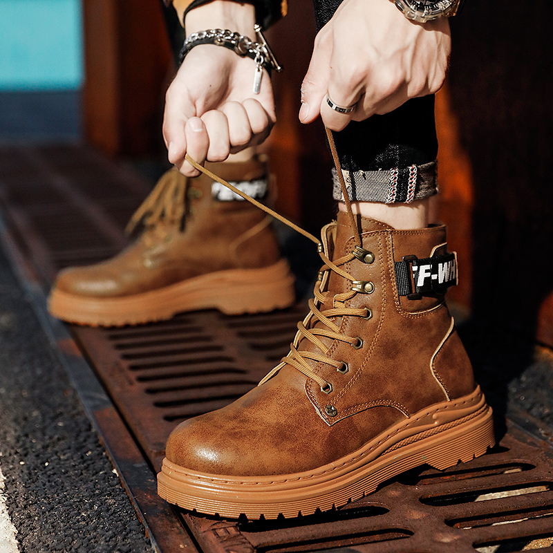 Autumn and winter Martin boots British style high top leather wear resistant and antiskid tooling shoes mens desert Korean versatile boots