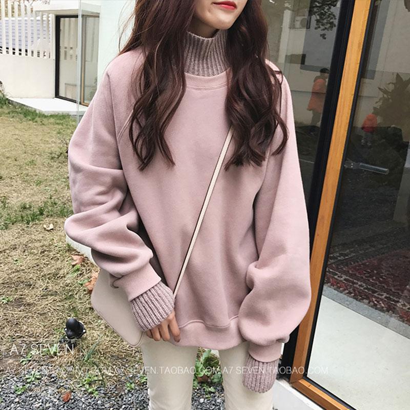 卫衣女秋冬新款假两件高领加绒加厚毛衣外套韩版潮学生宽松上衣服