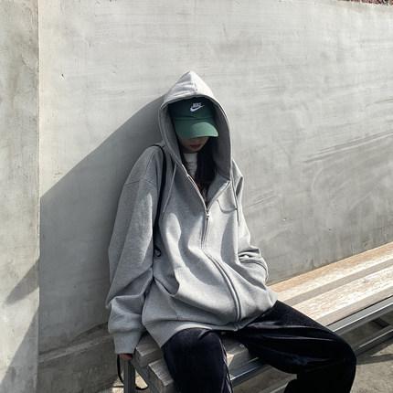 拉链卫衣女连帽加绒 韩版宽松图片