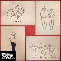 日本插画漫画酒吧咖啡厅宿舍牛皮纸海报装饰画相框