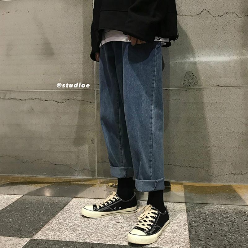 坠感阔腿牛仔裤男士韩版潮流宽松情侣直筒九分学生休闲复古色裤子