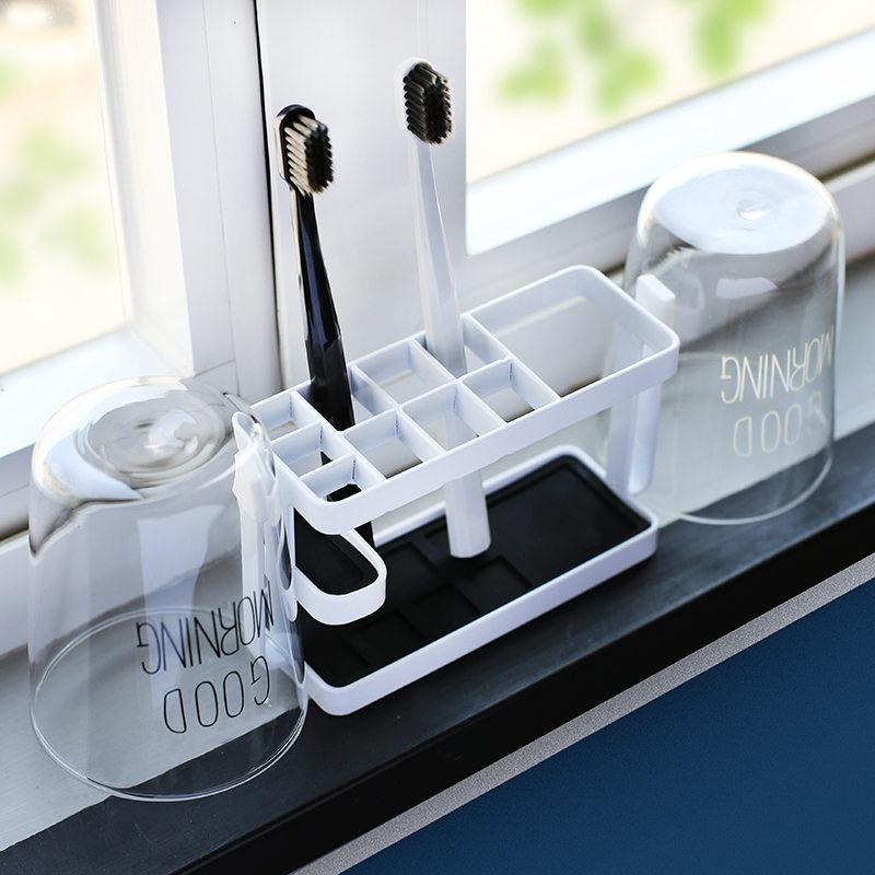日式牙刷置物架 漱口杯梳子牙刷架套装 卫生间刷牙杯架子置物架热销62件包邮